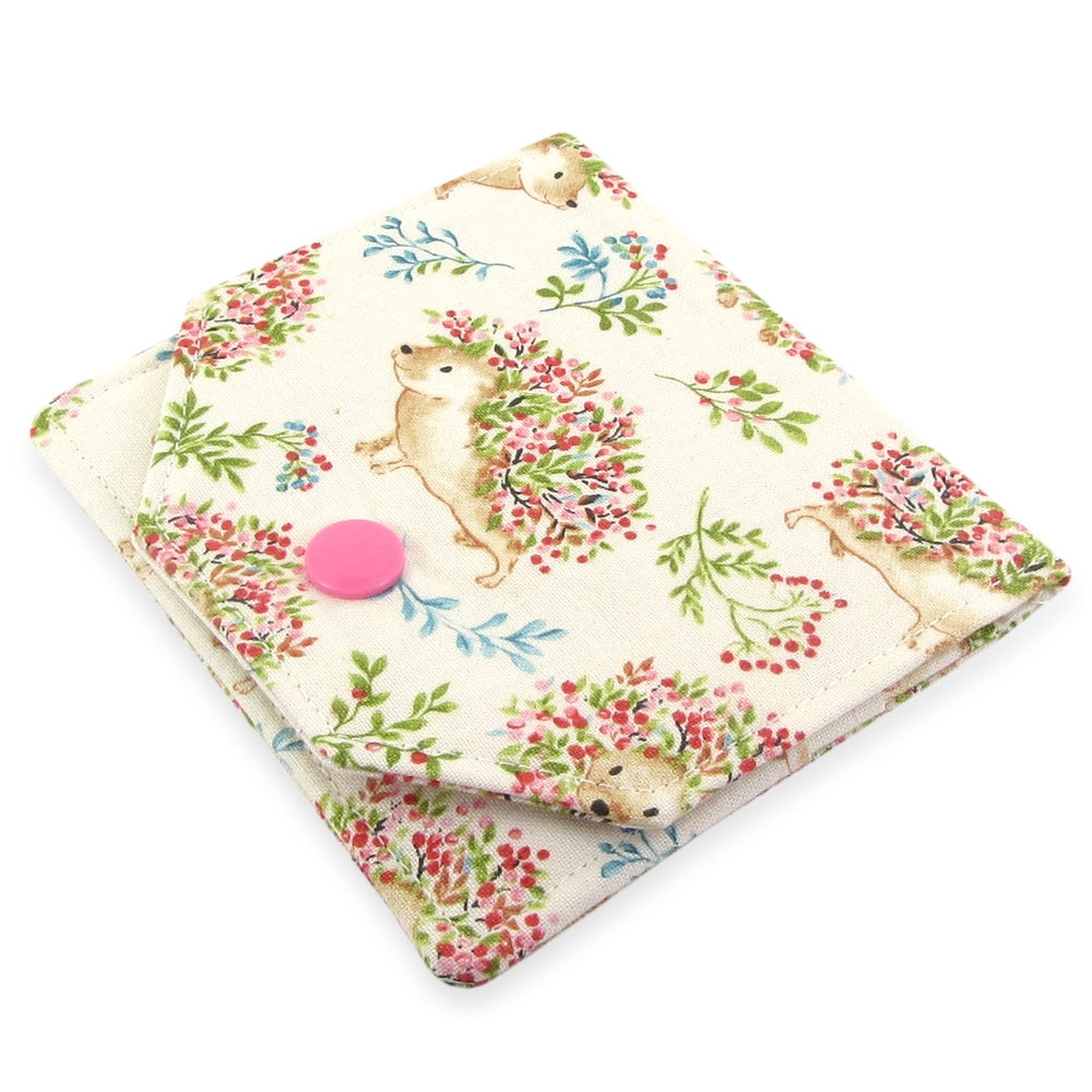 Handmade Hedgehog Fabric Women's Small Wallet