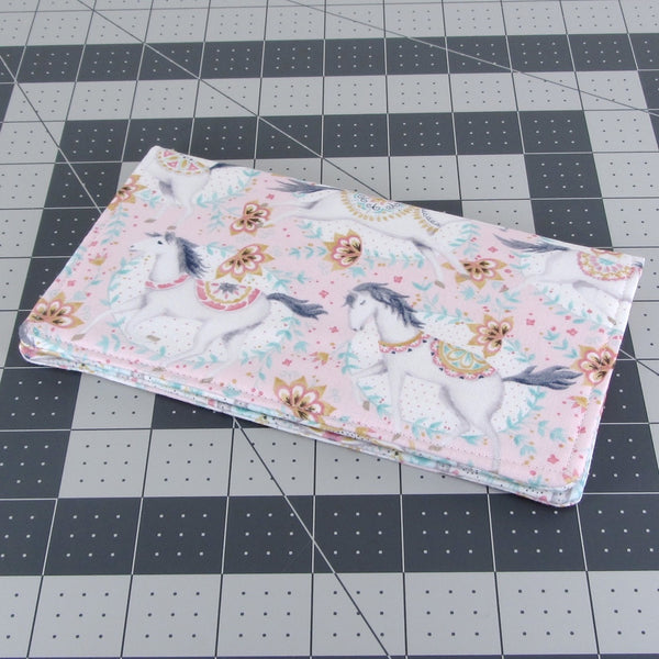 Handmade Whimsical Horse Fabric Women's Checkbook Cover