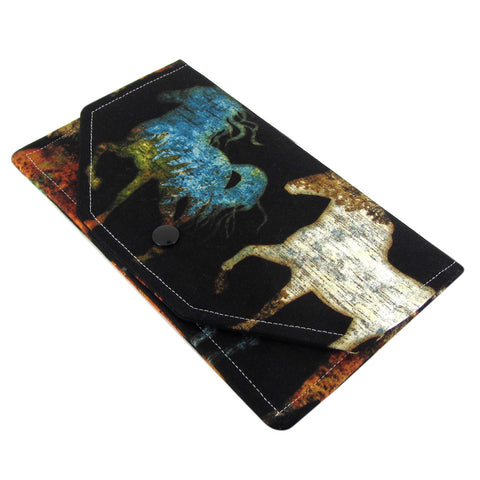 handmade western horse fabric women's clutch wallet