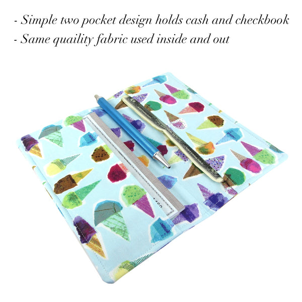 Handmade Ice Cream Fabric Women's Checkbook Cover