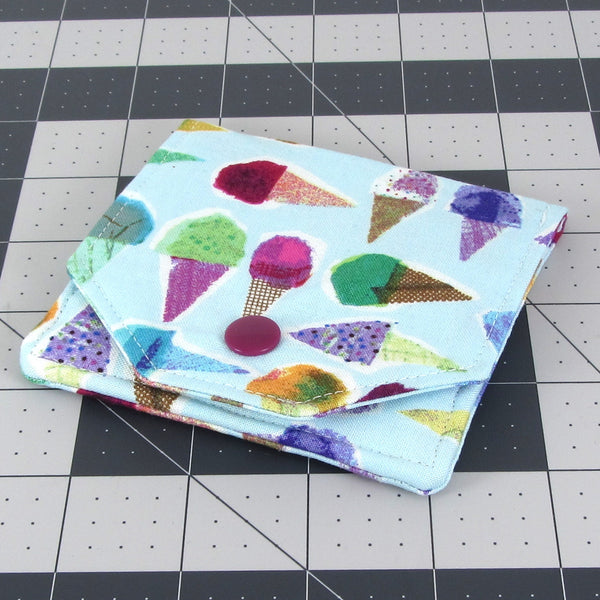 Handmade Ice Cream Cone Fabric Women's Small Wallet