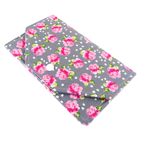 handmade rose fabric women's clutch wallet