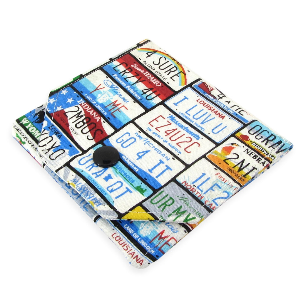 Handmade License Plate Fabric Women's Small Wallet