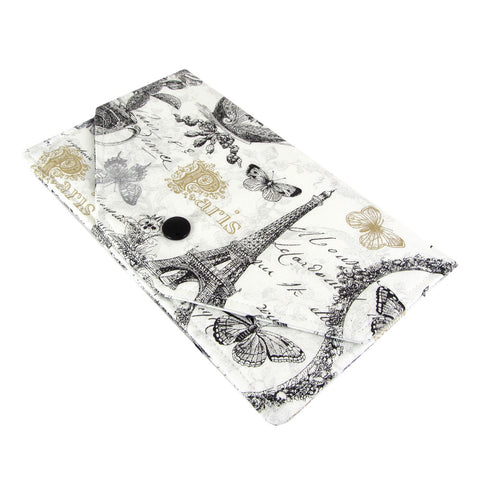Paris eiffel tower fabric women's cash envelope wallet