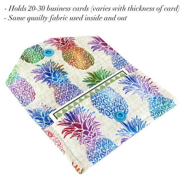 handmade pineapple fabric women's business card case