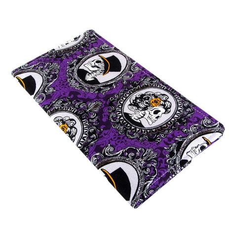 purple skull fabric women's checkbook cover