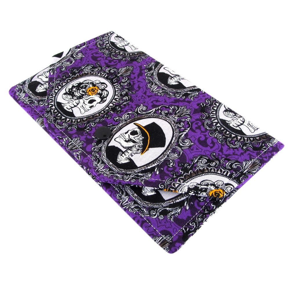 Handmade Purple Skull Fabric Women's Clutch Wallet