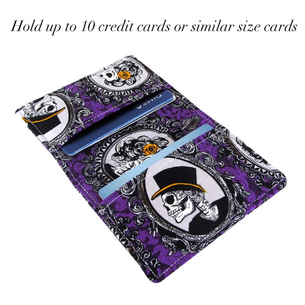 purple skull slim women's credit card wallet