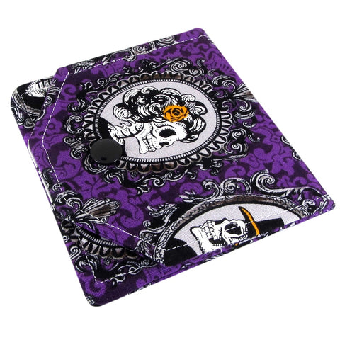 handmade purple fabric women's small skull wallet