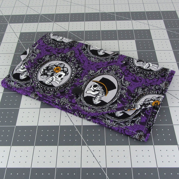 purple skull fabric women's cash envelope wallet