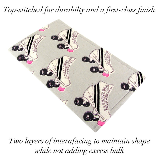 handmade roller skate fabric women's clutch wallet