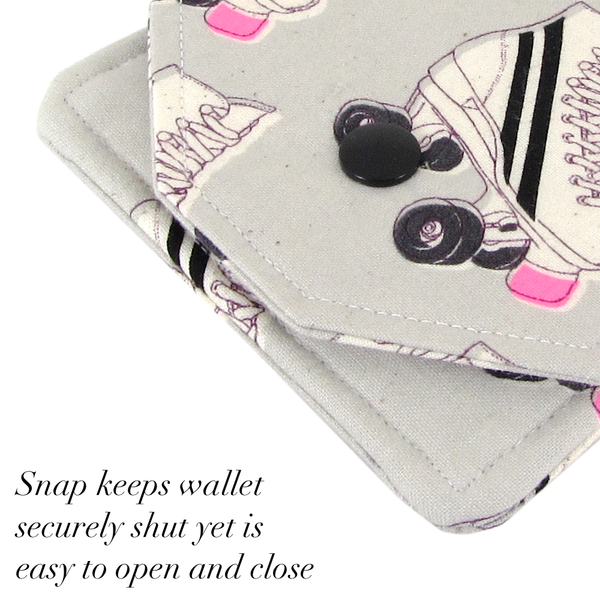 Handmade Roller Skate Fabric Women's Small Wallet