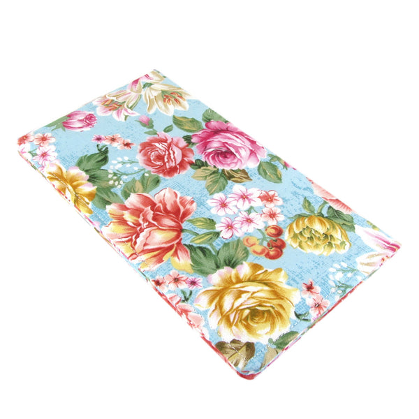 roses fabric women's checkbook cover