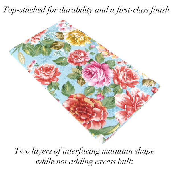 cute roses fabric checkbook cover