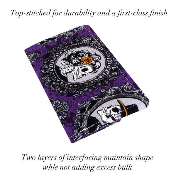 fabric skull business card case