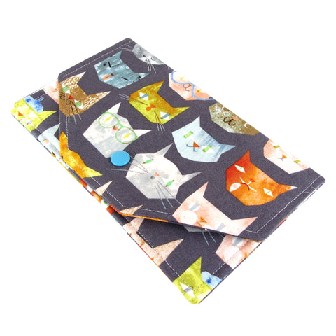 handmade cat fabric clutch wallet five sprouts
