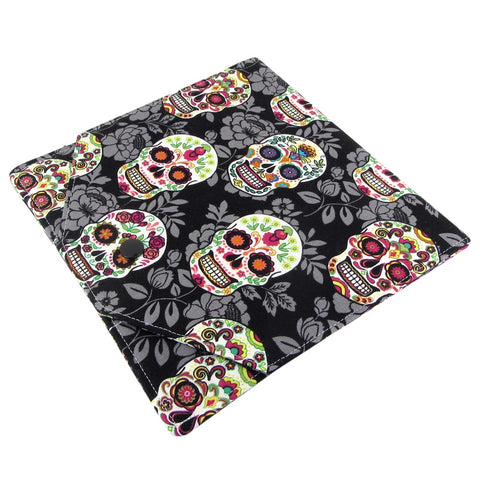 fabric sugar skull crochet hook case