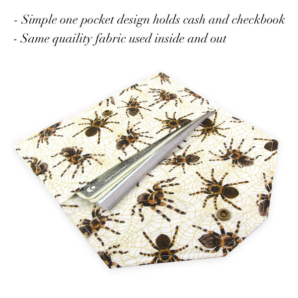 Handmade Tarantula Spider Fabric Women's Cash Envelope Wallet