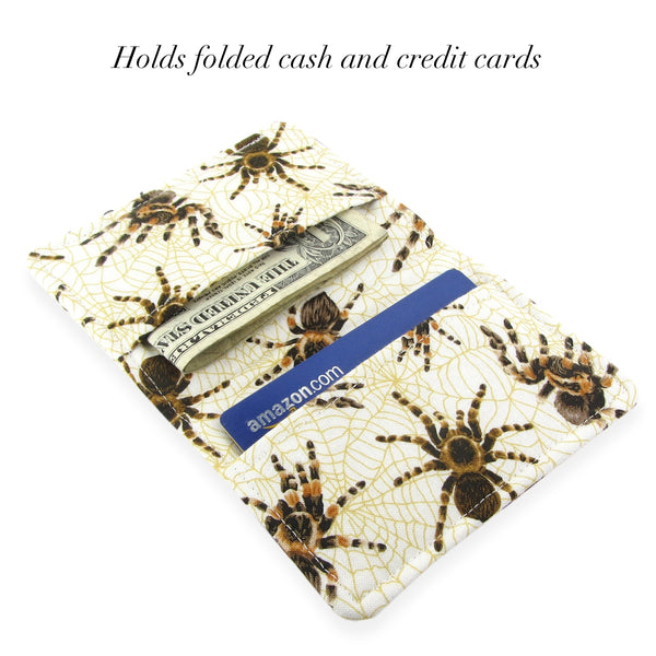 Handmade Tarantula Spider Fabric Slim Women's Credit Card Wallet