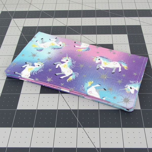 Handmade Unicorn Fabric Women's Checkbook Cover