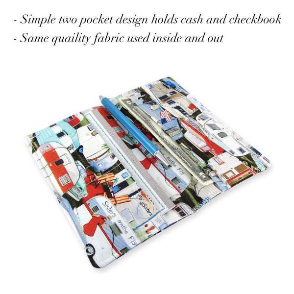 Handmade Vintage Camper Fabric Women's Checkbook Cover