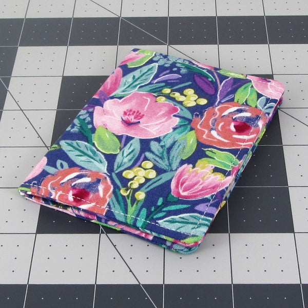 Handmade Watercolor Flower Slim Women's Credit Card Wallet