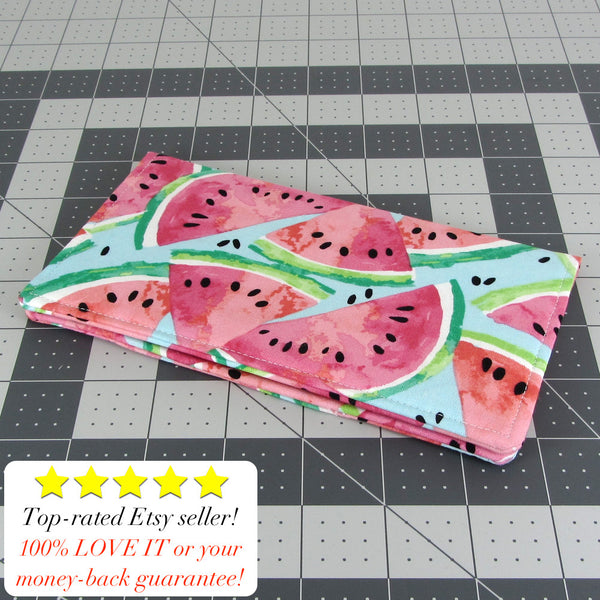 Handmade Watermelon Fabric Women's Checkbook Cover