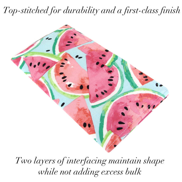 cute watermelon fabric checkbook cover