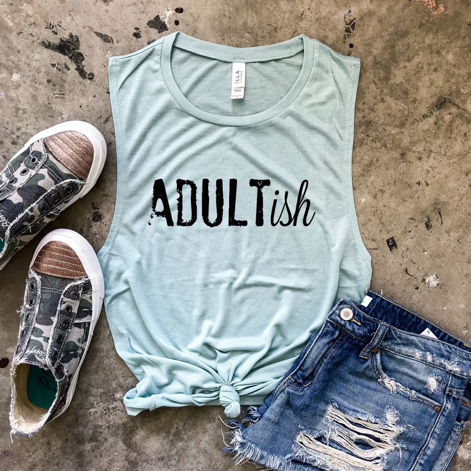 Adultish Muscle Tank - Dusty Blue