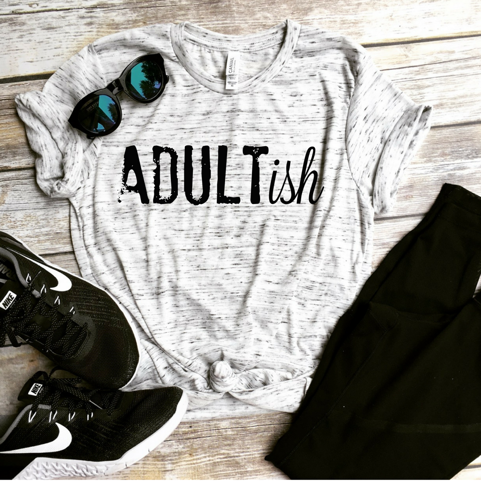 Adultish Unisex Tee - White Marble