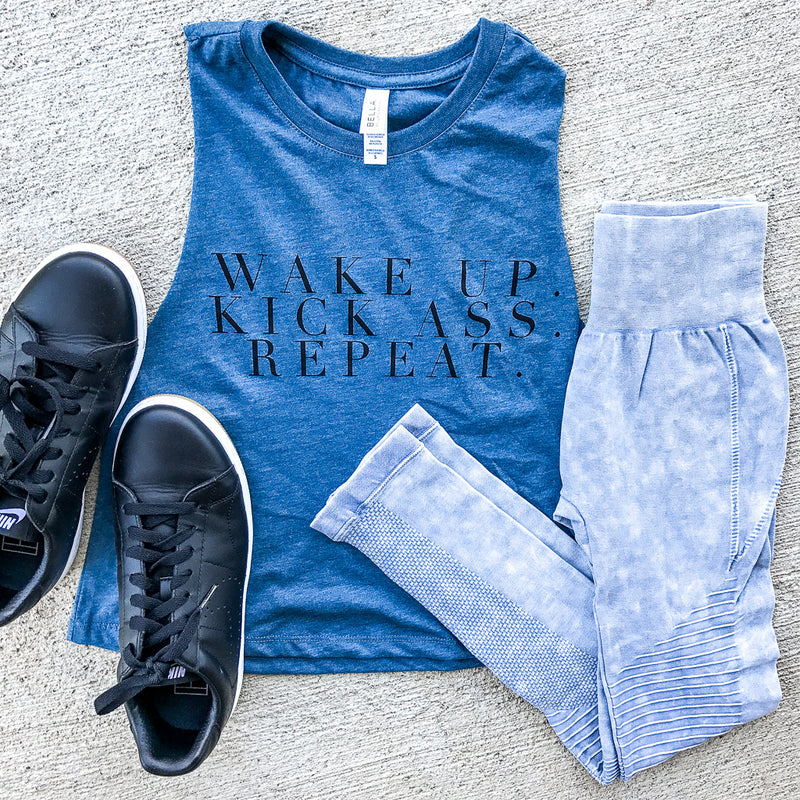 Wake Up Kick Ass Repeat CROP Top - BLUE