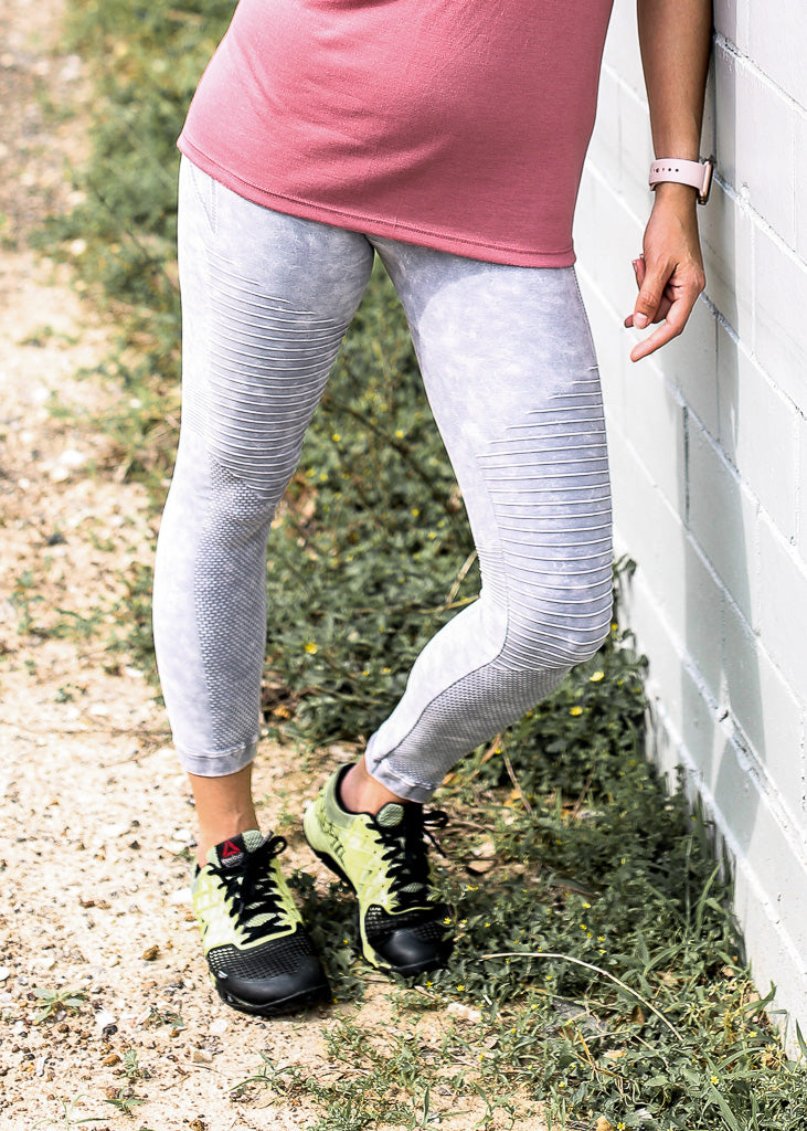 Grey Vintage Wash MOTO Leggings