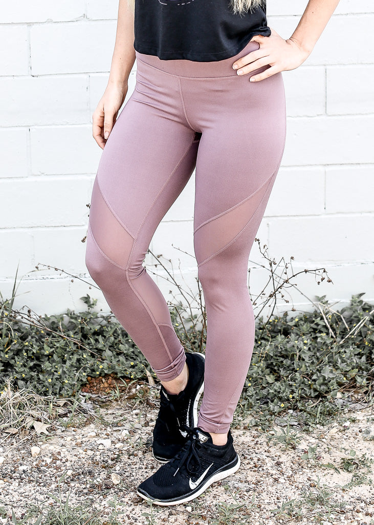 Mauve Mesh Athletic Leggings