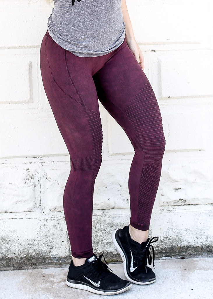 Burgundy Vintage Wash MOTO Leggings