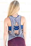 Hustlin' Cut Out Back Tank - Indigo/Gold Ink