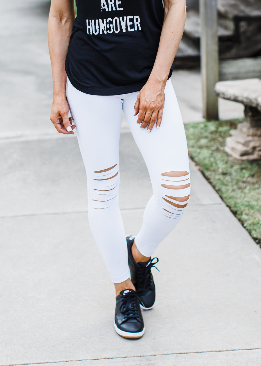 WHITE Edgy Distressed Knee Leggings