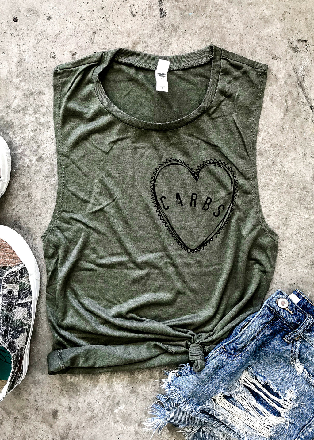 Carbs Heart Muscle Tank - Military Green