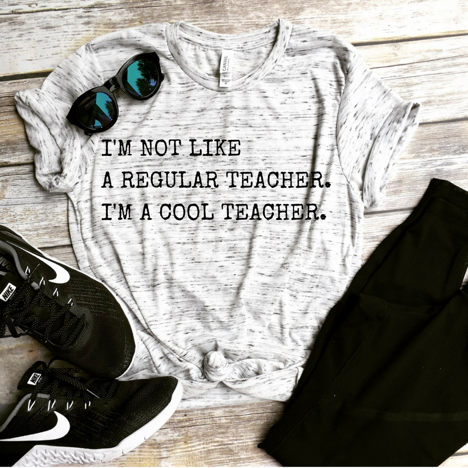 I'm a Cool Teacher White Marble Unisex Tee