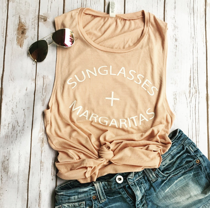 Sunglasses + Margaritas Peach Muscle Tank