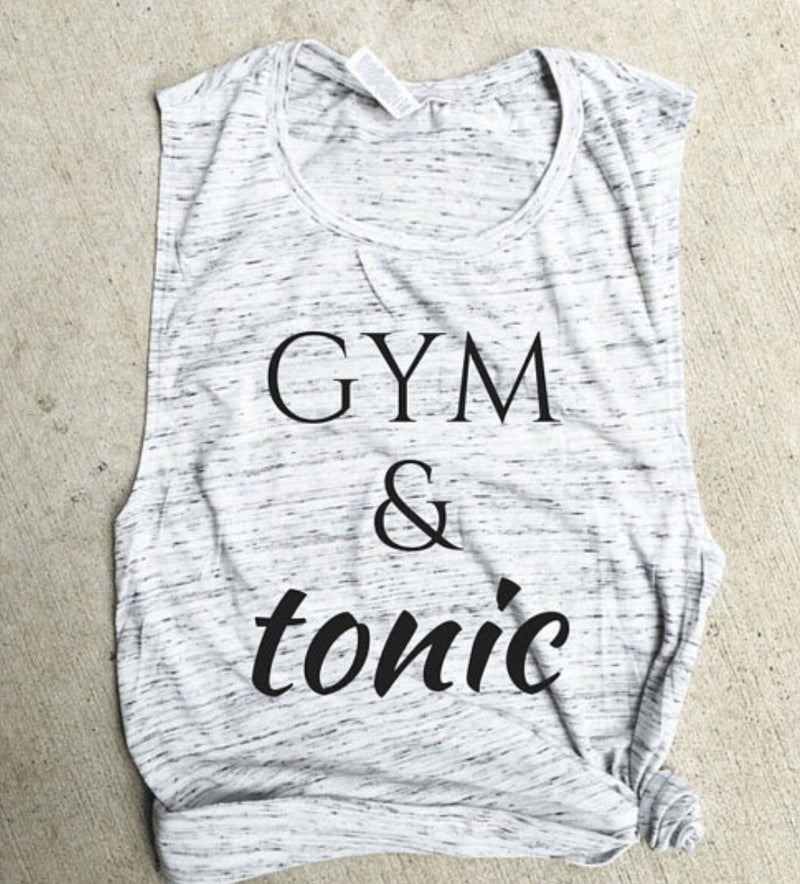 Gym and Tonic White Marble Muscle Tank