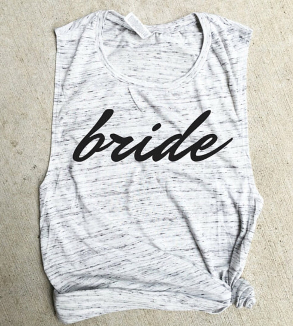 Bride White Marble Muscle Tank