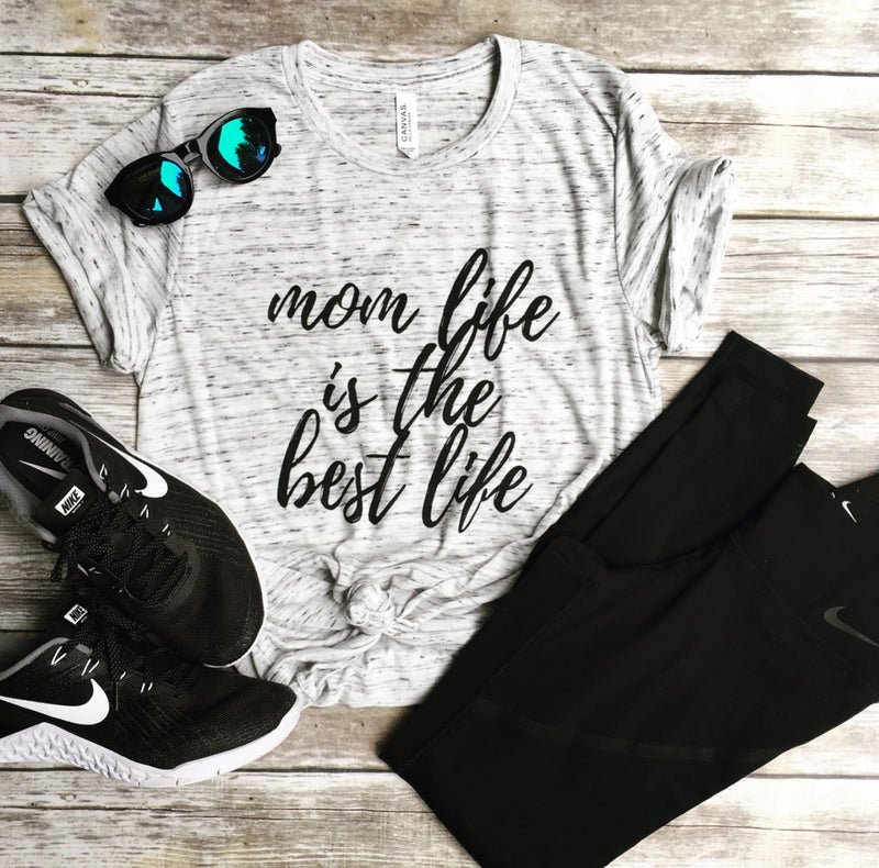 Mom Life is the Best Life White Marble Unisex Tee