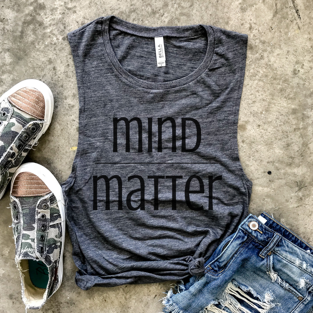 Mind Over Matter Gray Slub Muscle Tank