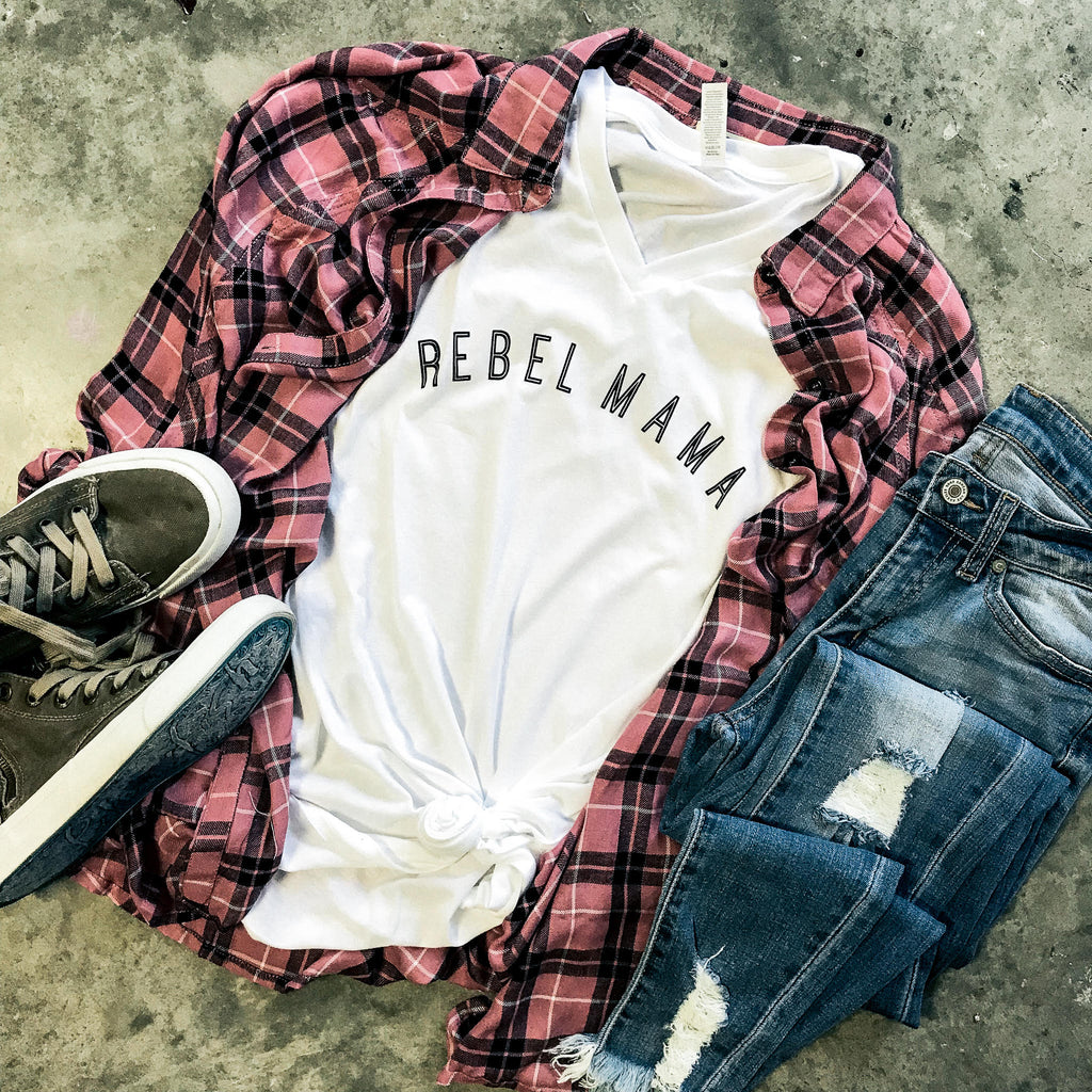 Rebel Mama White VNeck
