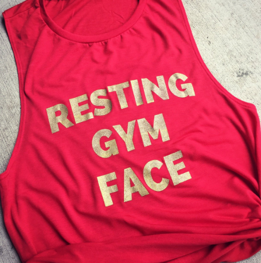 Resting Gym Face Red with Gold Ink Muscle Tank