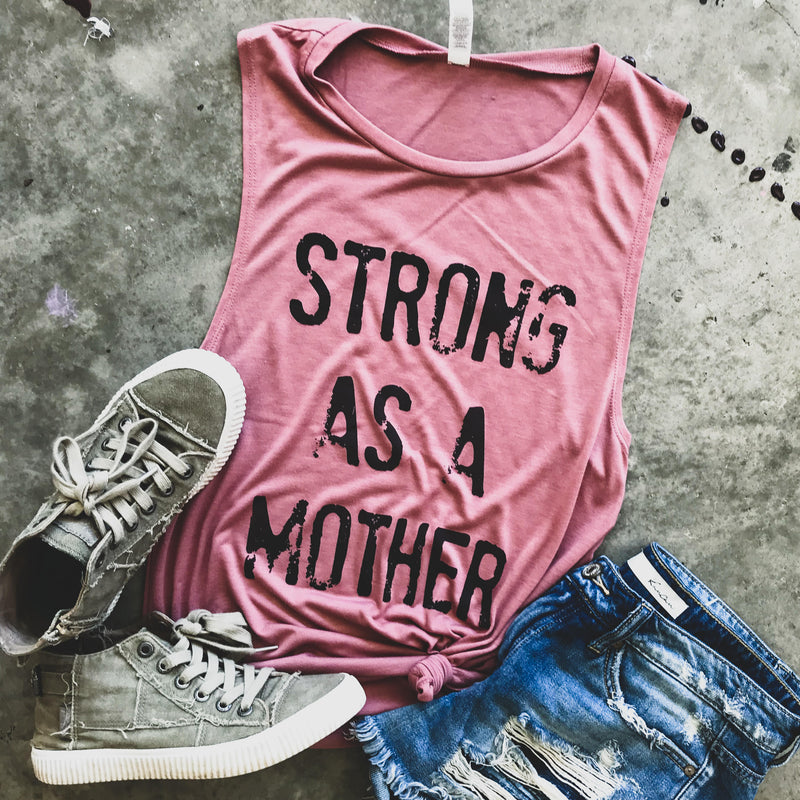 Strong as a Mother Mauve Muscle Tank