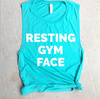 Resting Gym Face Teal Muscle Tank
