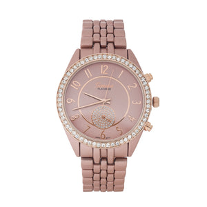 Rose Gold Metal Watch with Rhinestones