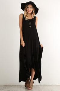 Black Hi-Lo Pocket Dress