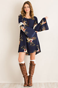 Navy Floral Dress with Tassles